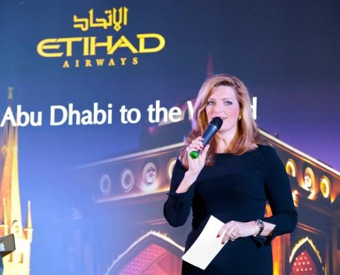 Sabine Stamm Moderation Gala Event Eröffnungsveranstaltung für Etihad Airways Düsseldorf
